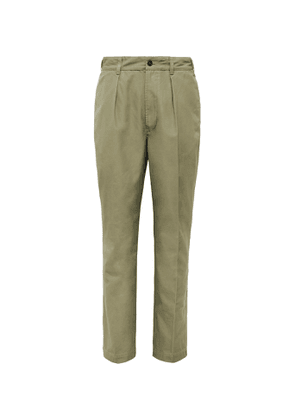 Drake's - Pleated Linen Suit Trousers - Men - Green
