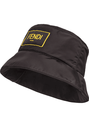 Fendi logo-patch bucket hat - Black
