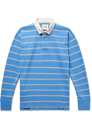 Drake's - Twill-Trimmed Striped Cotton-Jersey Polo Shirt - Men - Blue