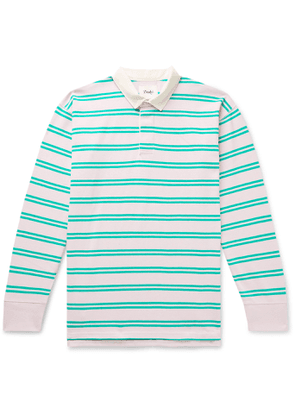 Drake's - Twill-Trimmed Striped Cotton-Jersey Polo Shirt - Men - Pink