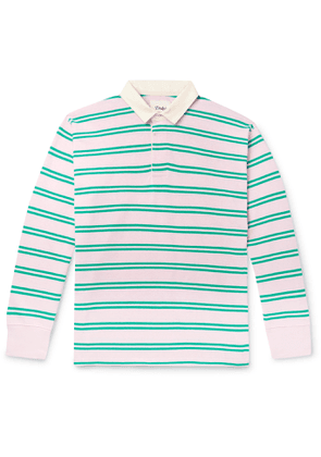 Drake's - Twill-Trimmed Striped Cotton-Jersey Polo Shirt - Men - Green