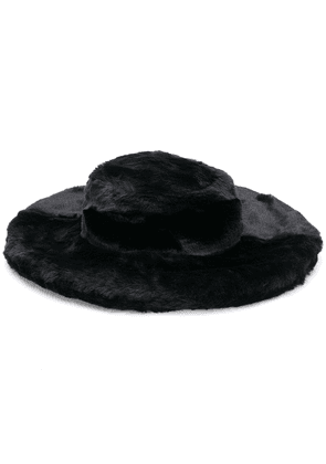 Kirin faux fur wide brim hat - Black