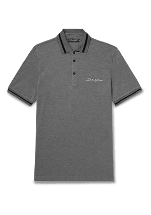 Dolce & Gabbana - Logo-Embroidered Contrast-Tipped Cotton-Piqué Polo Shirt - Men - Gray