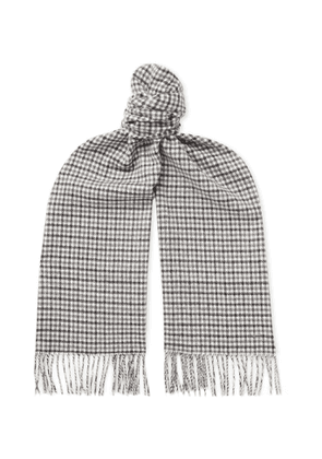 Dunhill - Fringed Checked Cashmere Scarf - Men - Gray