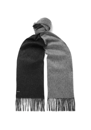 Dunhill - Reversible Fringed Cashmere Scarf - Men - Gray