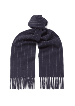Dunhill - Fringed Pinstriped Wool and Cashmere-Blend Scarf - Men - Blue