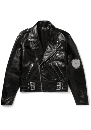 Enfants Riches Déprimés - Printed Leather Biker Jacket - Men - Black