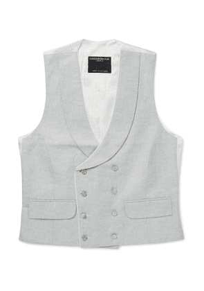 Favourbrook - Double-Breasted Cotton, Linen and Silk-Blend Jacquard Waistcoat - Men - Green