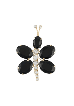 Gianluca Capannolo dragonfly crystal brooch - Black