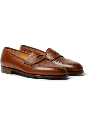 George Cleverley - Bradley Textured-Leather Penny Loafers - Men - Brown