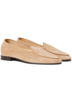 George Cleverley - Hampton Leather-Trimmed Suede Loafers - Men - Neutrals