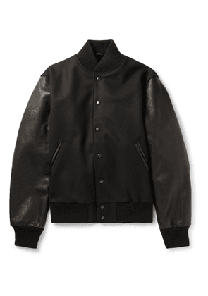 Golden Bear - The Albany Wool-Blend and Leather Bomber Jacket - Men - Black