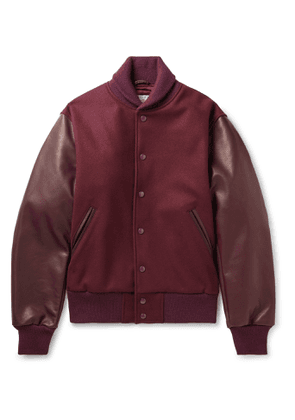 Golden Bear - The Albany Wool-Blend and Leather Bomber Jacket - Men - Burgundy