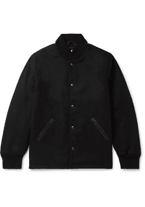 Golden Bear - The Westlake Leather-Trimmed Melton Wool-Blend Bomber Jacket - Men - Black