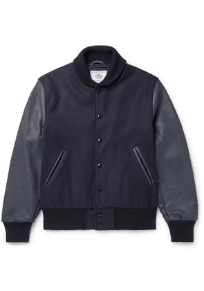 Golden Bear - The Albany Wool-Blend and Leather Bomber Jacket - Men - Blue