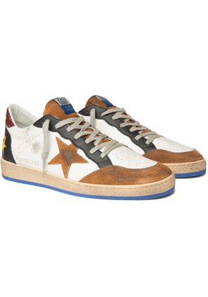Golden Goose - Ball Star Distressed Cracked-Leather and Suede Sneakers - Men - White