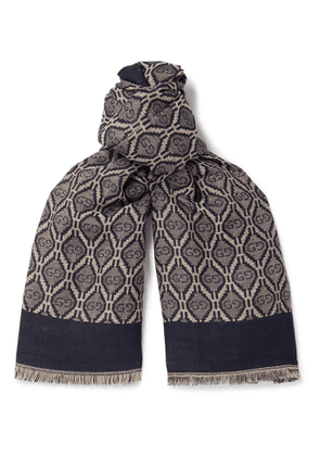 Gucci - Fringed Logo-Jacquard Cotton, Wool and Silk-Blend Scarf - Men - Blue