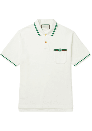 Gucci - Contrast-Tipped Logo-Embroidered Cotton Polo Shirt - Men - Neutrals