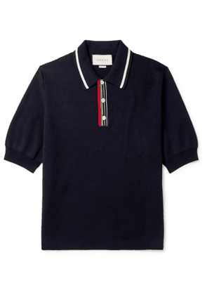 Gucci - Contrast-Tipped Webbing-Trimmed Cotton Polo Shirt - Men - Blue