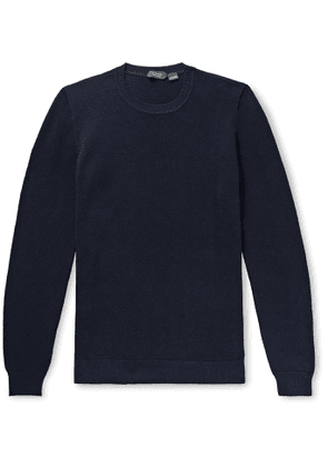 Incotex - Slim-Fit Honeycomb-Knit Cotton Sweater - Men - Blue