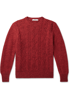 Inis Meáin - Cable-Knit Donegal Merino Wool and Cashmere-Blend Sweater - Men - Red