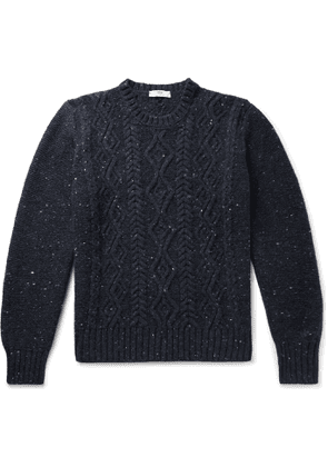 Inis Meáin - Cable-Knit Donegal Merino Wool and Cashmere-Blend Sweater - Men - Blue