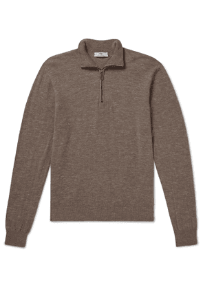 Inis Meáin - Mélange Wool and Linen-Blend Half-Zip Sweater - Men - Neutrals