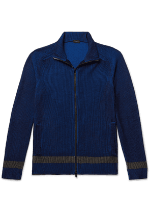 Incotex - Urban Traveller Striped Ribbed Cotton-Blend Zip-Up Cardigan - Men - Blue