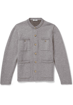 Inis Meáin - Contrast-Stitched Mélange Merino Wool and Linen-Blend Cardigan - Men - Gray