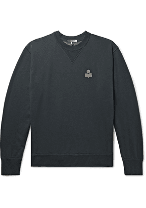 Isabel Marant - Mike Flocked Cotton-Blend Jersey Sweatshirt - Men - Black