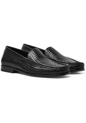 J.M. Weston - Collapsible-Heel Woven Leather Loafers - Men - Black
