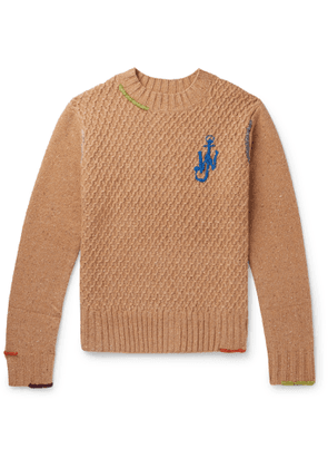 JW Anderson - Embroidered Textured Wool-Blend Knitted Sweater - Men - Brown