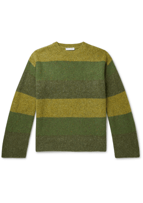 JW Anderson - Logo-Embroidered Striped Wool and Mohair-Blend Sweater - Men - Green