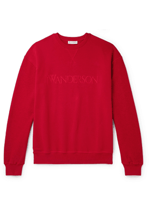 JW Anderson - Logo-Embroidered Loopback Cotton-Jersey Sweatshirt - Men - Red