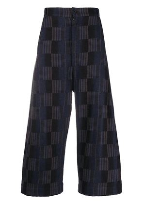 Henrik Vibskov checkered wide-leg trousers - Blue