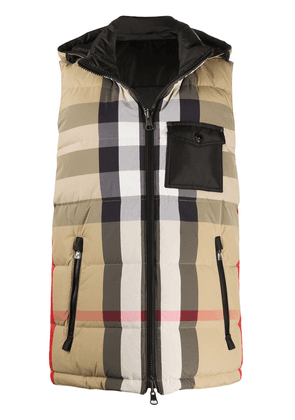 Burberry check-print padded vest - Neutrals
