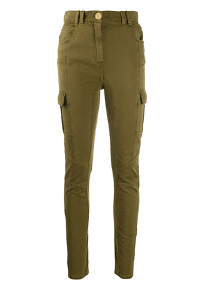 Balmain High waist corduroy-paneled skinny-fit jeans - Green