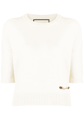 Gucci horsebit detail knitted top - White