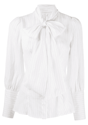 Dondup pinstripe pussy-bow blouse - White