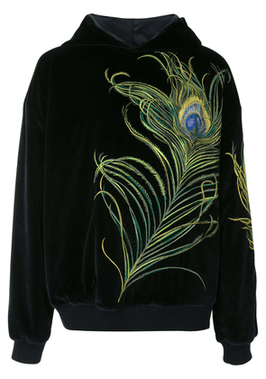Dolce & Gabbana peacock-feather embroidery velvet hoodie - Blue