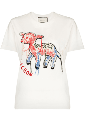 Gucci embroidered cotton T-shirt - White