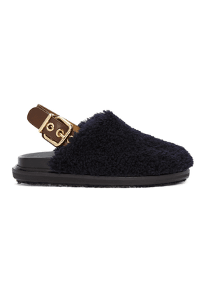 Marni Blue and Black Shearling Loafer