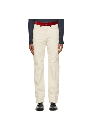 Wales Bonner Off-White and Red Corduroy Jeans