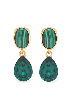 Gold-plated clip-on earrings with malachites