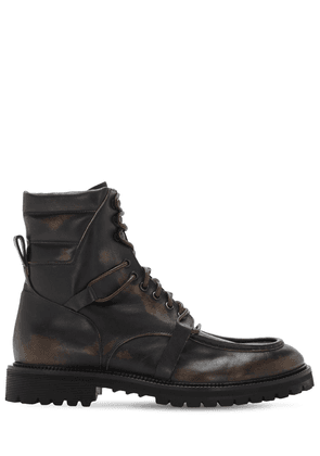 Leather Combat Boots W/ Double Laces
