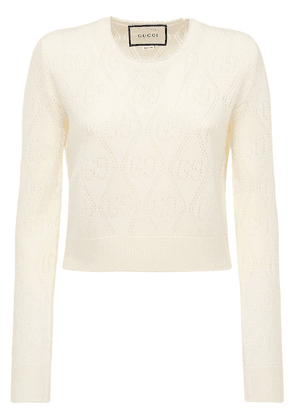 Gg Wool Knit Cropped Crewneck Top