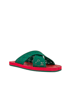 Gucci Crossed GG Rubber Sandal in Green - Green. Size 11 (also in 10,12,8,9).