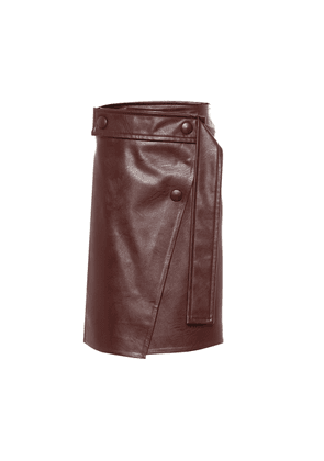 High-rise faux leather midi skirt