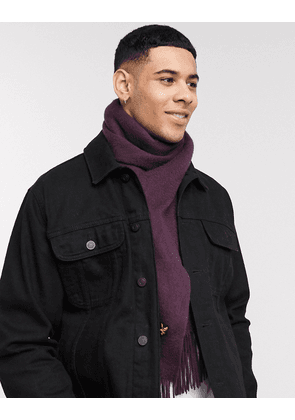Lyle & Scott plain lambswool scarf-Red