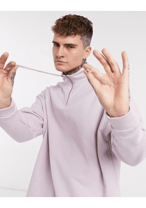 ASOS DESIGN oversized sweatshirt with funnel neck in lilac-Purple